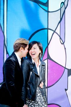 Rainbow inspired engagement shoot at the Bushwick Murals in Brooklyn, NY. Photographed by Steadfast Studio.