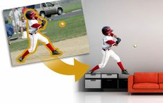 Wall sticker from your photo.would this be self absorption? I kinda like it for the boy's room Sports Action Photography, Baseball Quotes, Metallic Paper, Custom Posters, Wall Sticker, Your Image, Best Gifts, Poster Prints, My Love