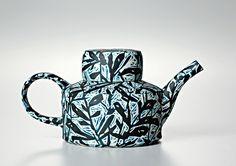 Bruce Nuske, Black & Blue Tea Can 2012 Hand formed porcelain 10 x 18 x 10cms