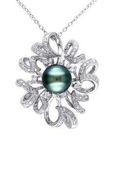 Sterling Silver Pave Diamond Swirl Halo Black 9-9.5mm Tahitian Pearl Pendant Necklace 0.14 ctw
