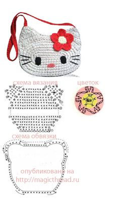 i do not like hello kitty, but i know some girls who do 😉 hello Kitty! – chart… i do not like hello kitty, but i know some girls who do 😉 hello Kitty! – charts for crochet purse! Bag Crochet, Crochet Girls, Crochet Handbags, Crochet Stitch, Crochet Purses, Love Crochet, Crochet For Kids, Crochet Shoes, Crochet Diagram