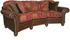 King Hickory Katherine Leather Fabric Conversation Sofa Furniture Large