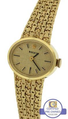 2918be8e7e41 Ladies Vintage Rolex Italian 14K Yellow Gold 0585 21mm Manual Mesh Dress  Watch. Relojes ...