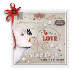 """""""Valentines Postage Stamp"""" by queenrachietemplateaddict ❤ liked on Polyvore featuring art, stamp, valentinesday and postagestamp"""