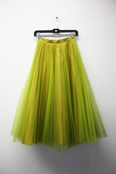 chartreuse midi chiffon pleated circle skirt