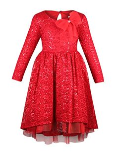 fe0229518 Bonnie Jean Little Girls Long Sleeve Lace Sequin Red Holiday Party Dress-Red  / 5