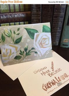 Note Card White flowers green leaves white roses