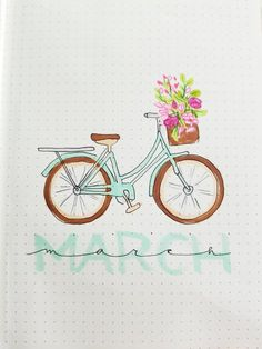 My pastel bicycle cover page for March. : bulletjournal My pastel bicycle cover page for March. Bullet Journal Doodles, Bullet Journal Headers, December Bullet Journal, Bullet Journal Monthly Spread, Bullet Journal Cover Page, Bullet Journal Notebook, Bullet Journal Layout, Bullet Journal Ideas Pages, Journal Covers
