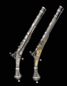 "peashooter85: "" Rare set of right and left handed Scottish snaphaunce pistols…"