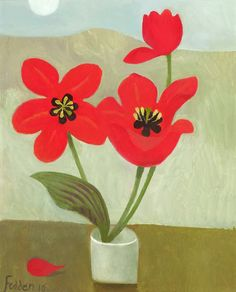 Mary Fedden. Red Tulips