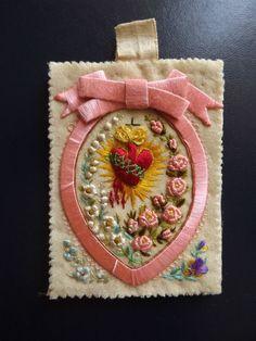 Genuine & Beautiful holy Scapular Sacred Heart Of Jesus Hand Embroidery.