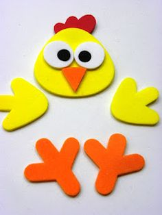 En fomy ✿⊱╮ Kids Crafts, Foam Crafts, Craft Activities For Kids, Easter Crafts, Diy And Crafts, Baby Barn, Plastic Bottle Crafts, Diy Ostern, Chickens And Roosters