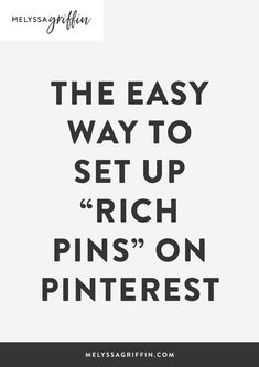 Want to learn how to grow your blog traffic with Pinterest? To help, I'd like to give you an easy pinterest marketing idea for you creative business. This post is all about how to get rich pins so you can use pinterest for business the right way! #pinterestmarketing #pinterestmarketingtips #socialmediatips #socialmediamarketing #melyssagriffin, #onlineentrepreneur, #creativebusiness Social Media Tips, Social Media Marketing, Marketing Logo, Marketing Quotes, Marketing Strategies, Content Marketing, Online Marketing, Digital Marketing, Business Tips