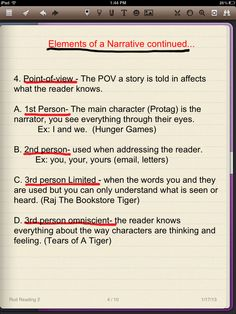 Elements of a narrative - point of view
