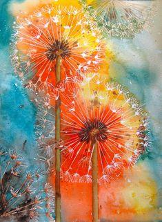 Pusteblume, Löwenzahn in Farbe, rot-orange, Aquarell, Kunst, Malerei