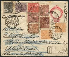 Brazil - 200Rs. Stationery cover + spectacular and very colorful additional postage of 900Rs., sent by registered mail from UNIAO DA VICTORIA (Parana) to Germany on 20/MAR/1929, VF!  Lot condition   Dealer Guillermo Jalil-Philatino  Auction Starting Price: 20.00 US$ (app. 16 EUR)