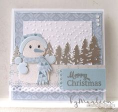 Handmade winter card by DT member Marleen with Collectables Eline's Snowman (COL1413), Creatables Horizon Forest (LR0444), Craftables Banners (CR1299) and Design Folder Snow Flakes(DF3419) from Marianne Design
