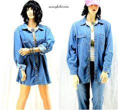 Oversized denim shirt / dress plus size denim by SunnyBohoVintage