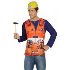 Shirt met lange mouwen en 3D bouwvakker print. Met dit shirt lijkt het net of je een complete bouwvakkers outfit draagt! Het is shirt is one size, maat M/L, en gemaakt van 100% polyester. Accessoires zijn los verkrijgbaar in onze webshop.