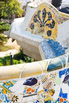 Parc Guell in Barcelona, Spain- mosaic tiles on the benches are stunning!   Barcelona: Architectural Wonderland
