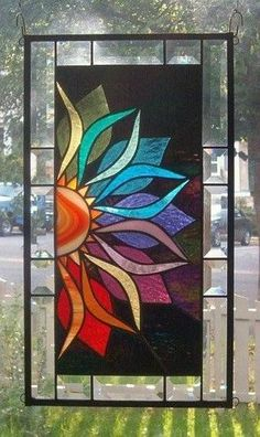 With Vivid Intensity Stained Glass Window Panel - i love stained glass art work Stained Glass Quilt, Stained Glass Crafts, Faux Stained Glass, Stained Glass Designs, Stained Glass Panels, Stained Glass Patterns, Leaded Glass, Glass Painting Designs, Window Glass
