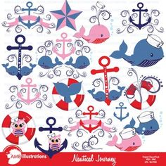 Nautical themed cliparts in red and blue, Coastal cliparts