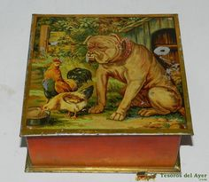 Antique Biscuit Tin.....Dog and Chickens. Spain.