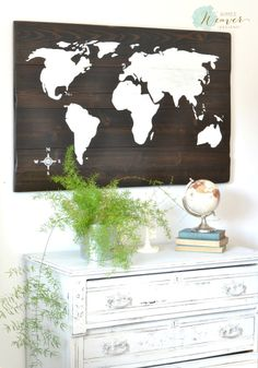 World Map Wood Sign by Aimee Weaver Designs