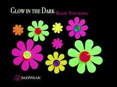 Daisy Glow-in-the Dark Body Stickers Rave Costume-Neon