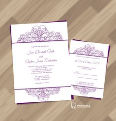 Decorative Ornamental Header Wedding Invitation and RSVP ← Printable Invitation Kits