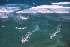Windsurfers at Diamond Head, Oahu, Hawaii.