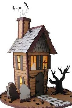 Create gingerbread houses Haunted House Paper Template