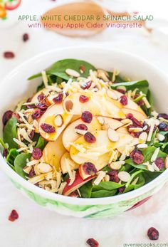 Apple, White Cheddar, and Spinach Salad with Honey-Apple Cider Vinaigrette - The flavors just POP in this fast, easy, and healthy salad! A delicious favorite in the making :) Healthy Salads, Healthy Eating, Healthy Recipes, Easy Recipes, Fruit Salads, Healthy Lunches, Healthy Food, Spinach Apple Salad, Kale Salad