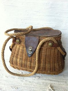 Antique Wicker and Leather Fishing Creel Basket