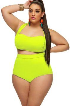 2fdb671308a Neon Yellow Halter Bandeau High Waist Plus Size Swimwear LAVELIQ Material   Polyester+Spandex Size