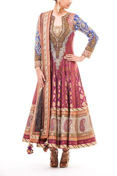 Blue and plum 20 panel anarkali with antique gold and topaz aari and thread work.