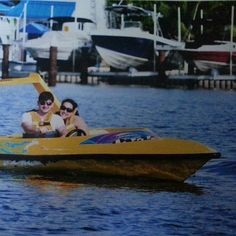 L.A Richards and his wife Karima, enjoying some powerboat racing in Mexico