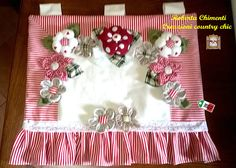 Felt Crafts, Diy And Crafts, Den Decor, Kitchen Linens, Striped Fabrics, Red And White Stripes, Soft Furnishings, Cottage Style, Fabric Flowers