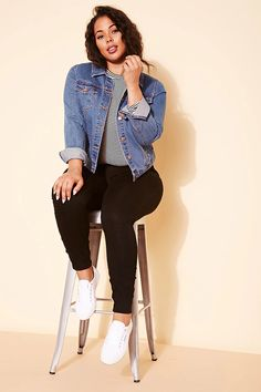 Forever 21+ - A denim jacket with a basic collar, a button-front, long button-cuff sleeves, front buttoned flap pockets, and front slip pockets.