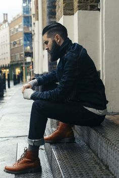 To don a casual menswear style with a twist, pair a navy denim jacket with navy jeans. Complete this ensemble with a pair of brown leather brogue boots to instantly turn up the style factor of any look. Fashion Mode, 50 Fashion, Fashion Boots, Fashion Outfits, Male Fashion, Beard Fashion, Street Fashion, Lifestyle Fashion, Rugged Men's Fashion