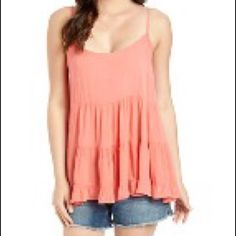 """Coral Bloom Open-Back Tank Beautiful color - brand new with tag. Flowy/loosely tank. 100% rayon. Measurement laying flat: bust: 18.5"""" length: 27.5"""" Fashion Web Tops Tank Tops"""