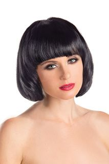 Black Bob Wig Short Fête Ladies Bobbed Fancy Dress Costume Accessory