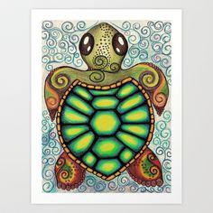 Baby Sea Turtle Art Print by Alohalani - $24.96