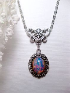 Blue Fire Opal Art Nouveau Necklace by FashionCrashJewelry