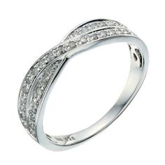 18ct white gold crossover 1/4 carat diamond wedding ring - Ernest Jones