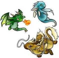 three cute dragons