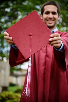 male senior, cap and gown