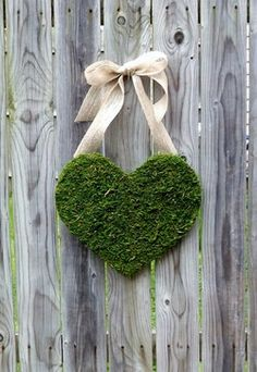 Handing from right side front barn -Moss Heart -Lace or Burlap Ribbon. Easy to diy.