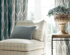 Rue de Seine Collection by Anna French - Featured Product: Deilen Embroidery woven fabric in Slate on Natural, Mayfair Chair in Laurence Plaid woven fabric in Beige, Zenith Velvet woven fabric in Charcoal #Thibaut