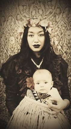Maori model and dancer Sarah-Lina Brown who is Cook Island and her baby Lola who was 4 months old at the time - Aotearoa